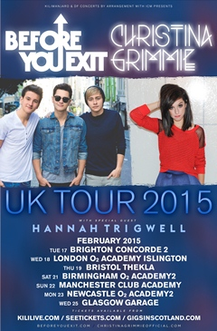 Before You Exit Christina Grimmie co-headline UK Tour 2015