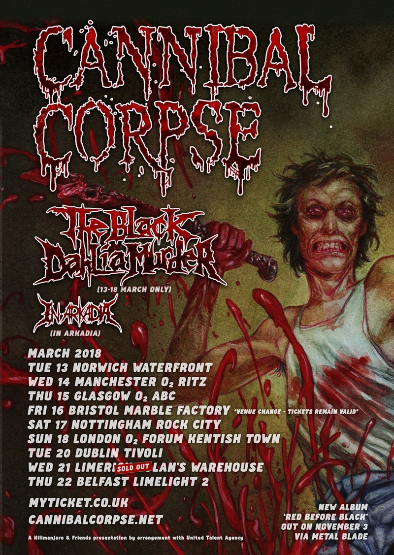 Cannibal Corpse UK Tour 2018