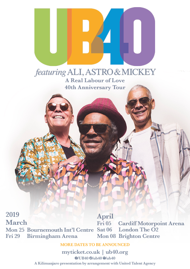 UB40 featuring Ali Campbell, Astro and Mickey Virtue UK Tour 2019