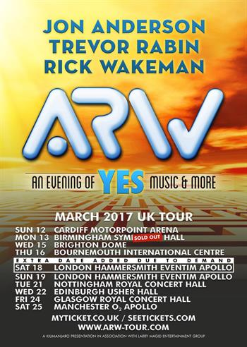 Anderson, Rabin & Wakeman UK Tour 2017